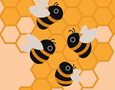 Typographic Bee Illustration