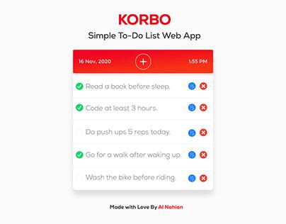 KORBO — Simple To-Do List Web App