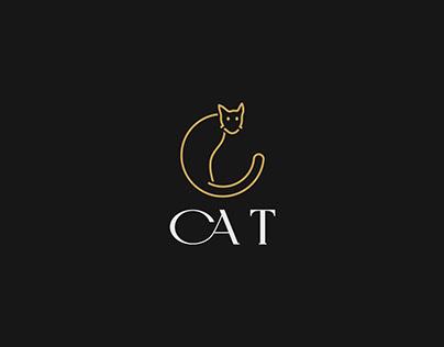 Line art logo, Letter C + Cat icon logo concept