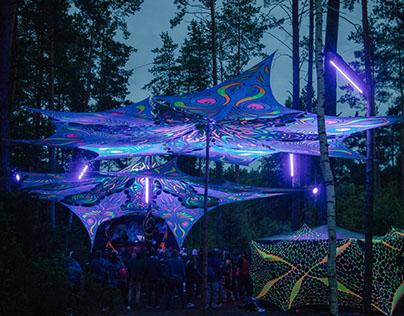Revolution Festival 2017 - stage canopy, lycra deco