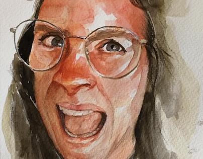 Screaming Watercolor portrait