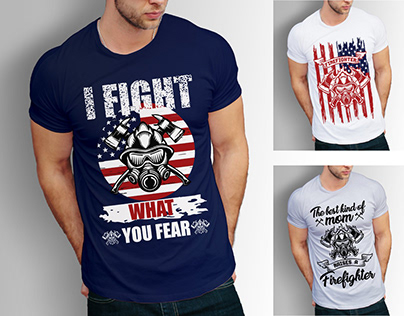 Firefighter T shirts Design Bundle With Free Mockup