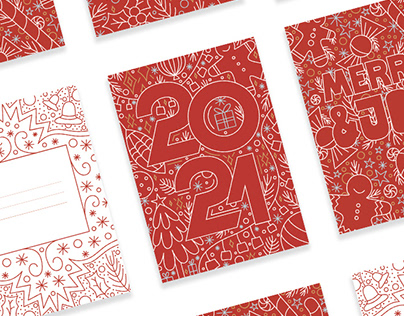 Christmas lettering postcards