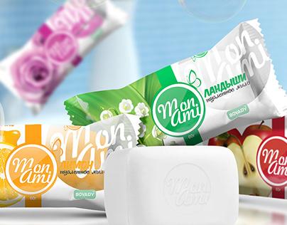 Packaging design end logo design for soap Mon Ami