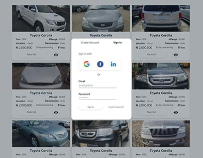 The abuja auto auction website mockups