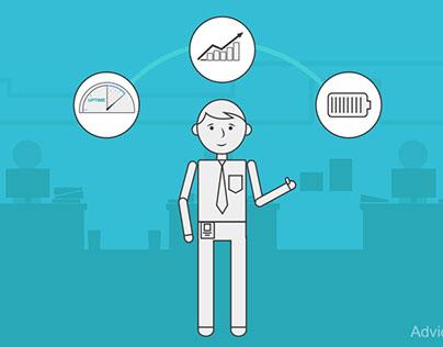 Employee In Office Showing Metrics