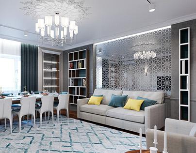 Neo classic / livingroom / Apartment in Almaty 118.3m²