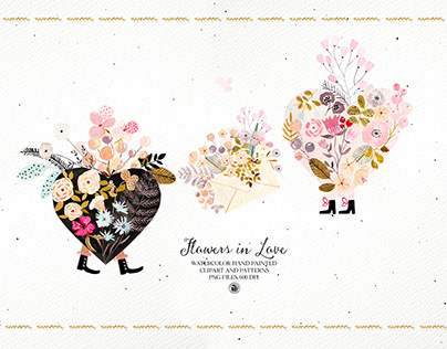 Flowers in Love - watercolor Valentines set