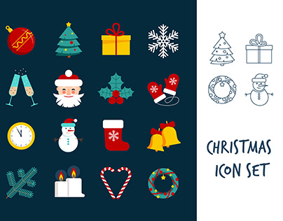 Christmas icon set and patterns