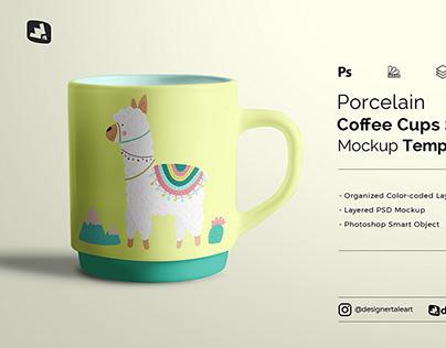 Porcelain Coffee Cups Set Mockup