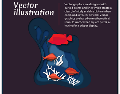 Vector illustration of fish in pond