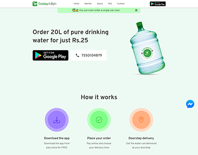 Trolley Fresh - Water can delivery app landing page
