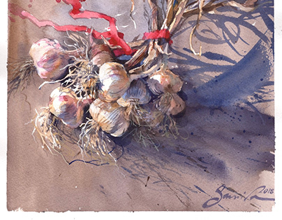 Watercolor Picture «Garlic»
