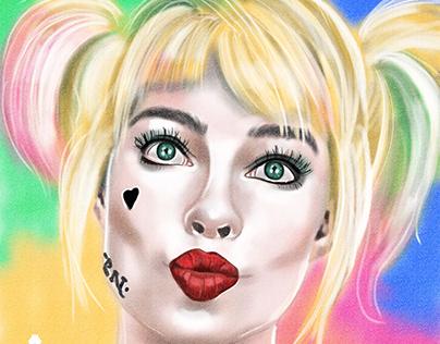 Harley Quinn fan art painted in Adobe Fresco