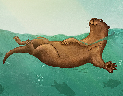 the otter swims | ILLUSTRATION