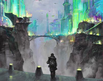 City of illusions. Illustration Digital art.