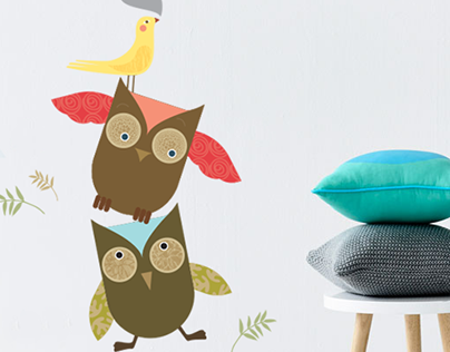 Wallsticker Owls - Porta Amarela