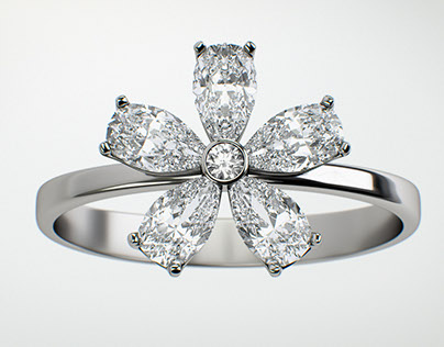 "Ring visualization. Collection ""Flower"" brand ""Mercury"""