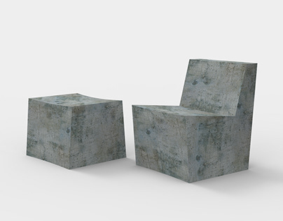 Concrete Chair & Ottoman