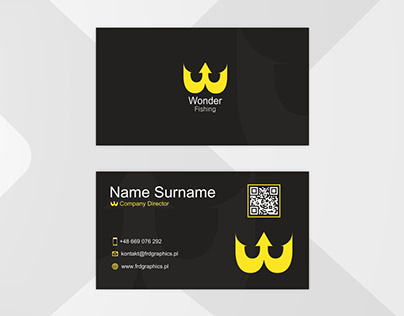 Simple dark business card - Wonder Fishing