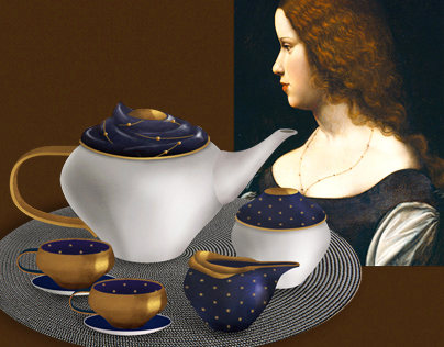 Renaissance Portrait Inspired Tea Set Design