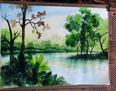 Sundarban landscape painting on art paper