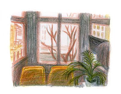 from the window of... от прозорчето на...