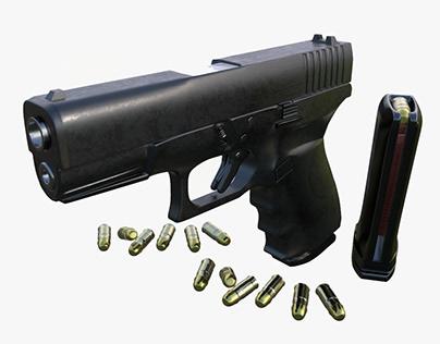 Gun Model Fa Glock VR / AR / low-poly 3d model