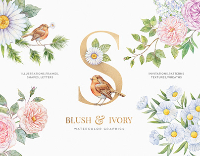 Blush & Ivory Watercolor Floral Set