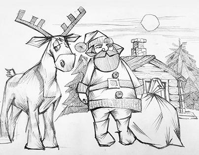 """Набросок к иллюстрации """"Санта"""""""