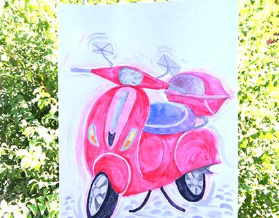 Red Motobike (watercolor)