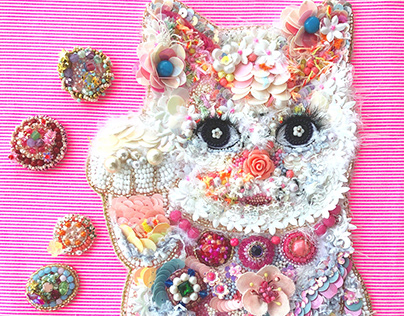 """""""The Lucky Cat"""" Embroidery art"""