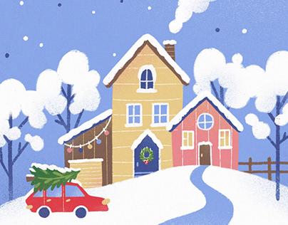 Holiday postcard Snow globe