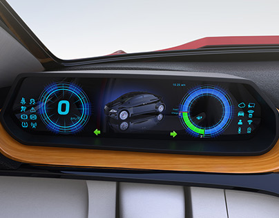 Self-driving car interior concept.