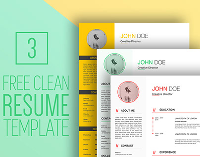 3 Free Clean Resume Template