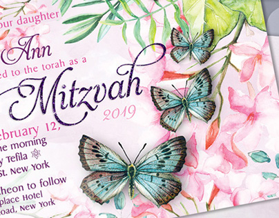 Butterfly Bat Mitzvah Invitation