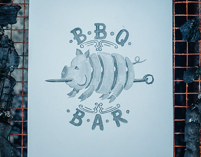 Watercolor hand lettering for BBQ BAR
