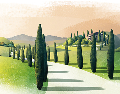 Road with Cypress