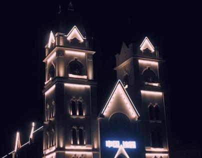 The light illuminated the castle