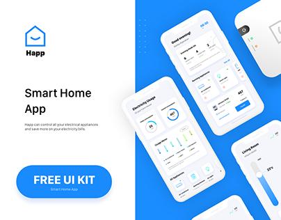Free UI/UX Kit - Smart Home App.