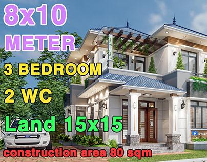 2 Storey villa 8x10 House Design - BT mái nhật