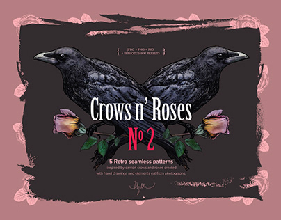 Crows n' Roses No2 - Retro seamless patterns