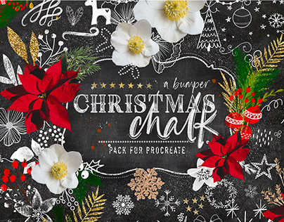 Christmas Chalk Procreate Brushes By:OkayAnnie Designs