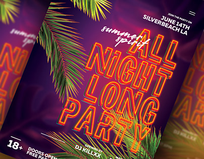 Neon Summer Party Flyer Template