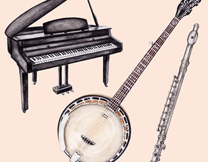 Watercolour Illustrations For Musical Bingo Game