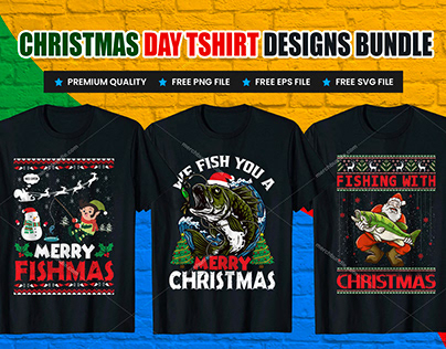 Christmas, Dog, Fishing, Student T Shirt Design Bundle.