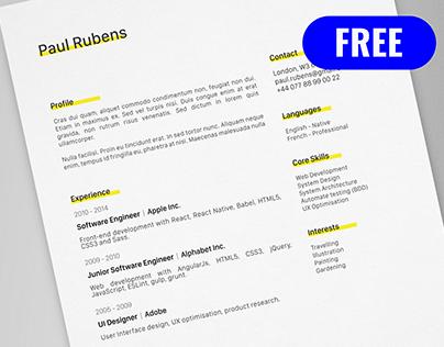 Paul Rubens - FREE creative resume/CV template / AI