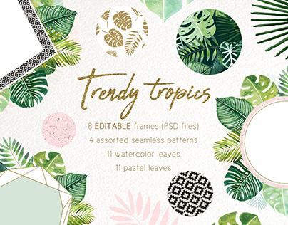 Jungle frames and patterns available on Creative Market