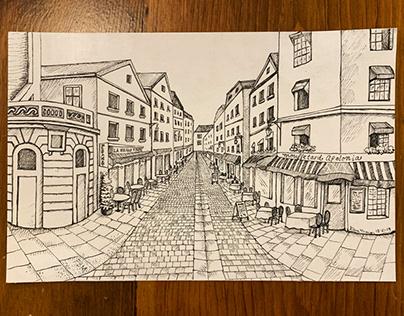 Pen and Ink: Parisian Street