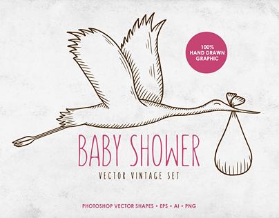 Baby Shower Vintage Set